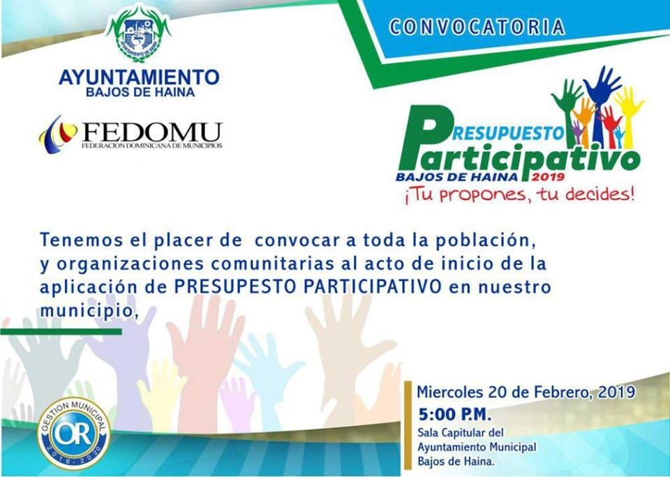 APROBACIÓN DEL PRESUPUESTO PARTICIPATIVO 2019